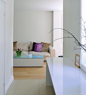 NYANSERT: Hvitt med ulike glansgrader skaper liv i rommet. Du kan også viske ut skillene ved å bruke samme glansgrad på tak, vegger og gulv. Det gir en følelse av at rommet svever.