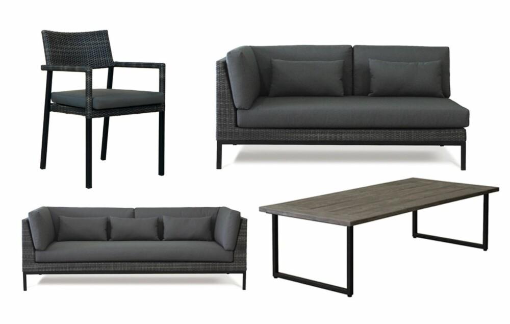 TÅLER MYE: Møblene fra Slettvoll er flettet for hånd og er utviklet for å tåle både UV-stråling, frost og høy varme. De ulike delene i Andrew serien kan mikses og settes sammen etter ønske.