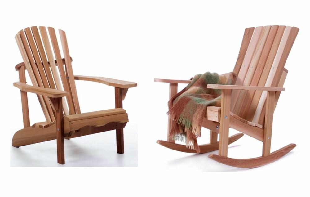 SLITESTERKT: Treverket er i de klassiske adirondack-stolene fra Solfang er lett, men slitesterkt. Det inneholder naturlige oljer som gjør den motstandsdyktig også i tøffe klimaer.