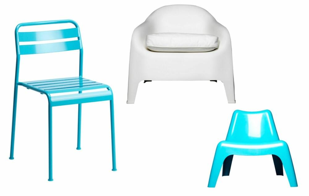 VEDLIKEHOLDSFRITT: Plast og metall er praktiske og vedlikeholdsfrie materialer. Sprit opp terrassen med fargeglade stoler fra Ikea.