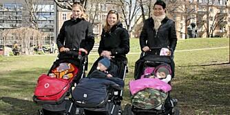 TRENDY MØDRE - TRENDY VOGNER: Katarina Hansen med datteren Agnes, Louise Lindblad med datteren Paloma og Veronica Backman med sønnen Hugo.