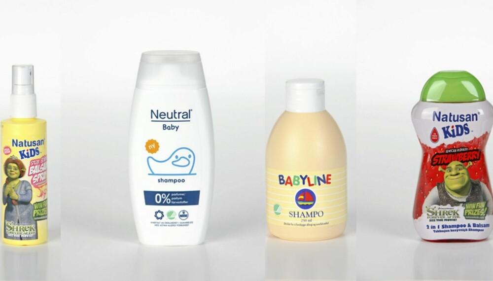 TESTET: Fra venstre: Natusan Kids Star Shine Balsam Spray, Neutral Baby Shampoo, Babyline Shampo og Natusan Kids Strawberry 2 in 1 Shampoo & Balsam.