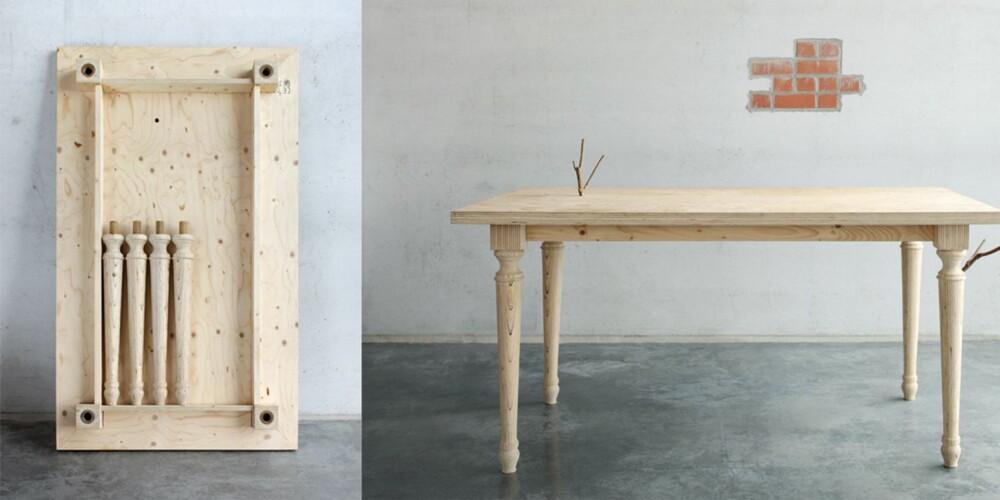 SPENN FRA BEINA: Bordet fra belgiske Labt er en blanding av mormors spisebord og moderne design. Det har mange fiffige detaljer og lages i flere størrelser, labt.be