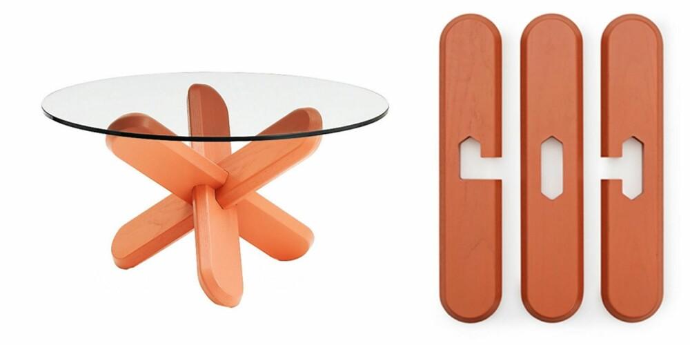 TREBEIN + GLASS: 40 centimeter høyt bord som er enkelt å montere, tre flate bein og en glassplate, normann-copenhagen.com