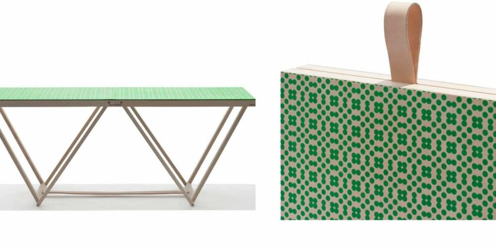 KLAPP SAMMEN: Wallpapered Table fra danske Friis & Black får du med ulike tapetoverflater. Det dekorative bordet er laget i ask, friiswood.dk
