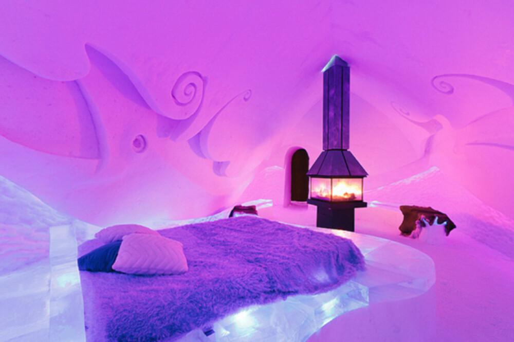 HOTEL DE GLACE: Tilbring en unik natt i sovepose på dette rommet.