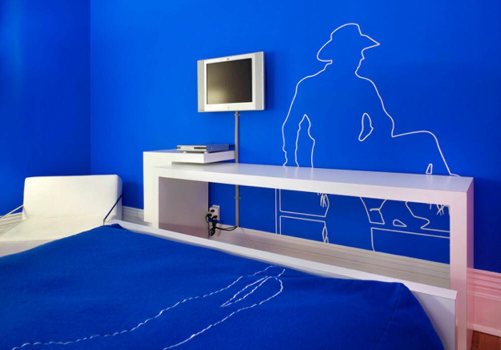GLADSTONE HOTEL: Veggene er laget for å minne om blue-screens.