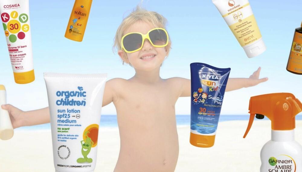 TEST AV SOLKREM FOR BARN: Noen av disse solkremenene inneholder helse- og miljøskadelige stoffer.