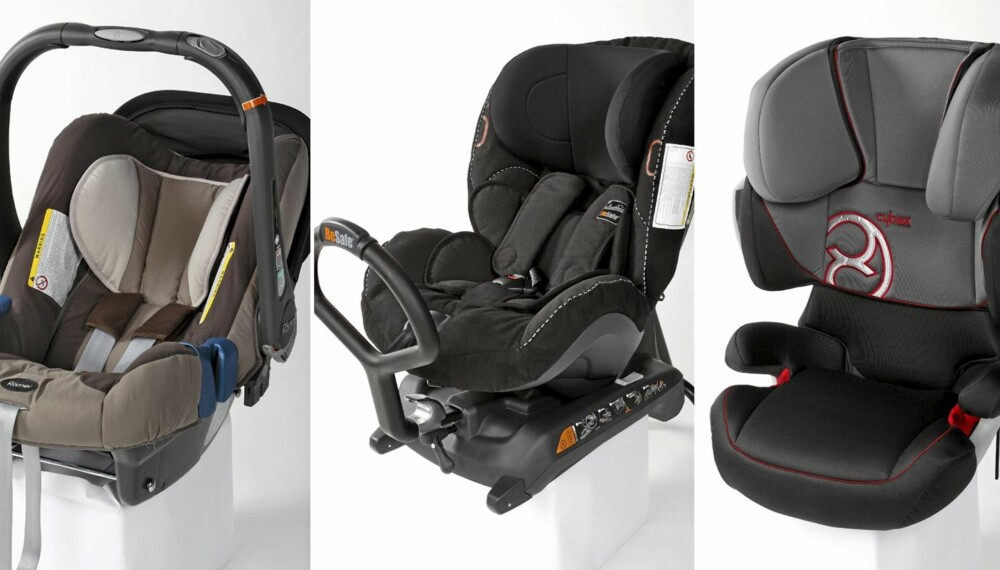 TESTVINNERE: Barnesetet Römer Baby-Safe plus SHR (venstre), HTS BeSafe iZi Kid X3 Isofix (midten) og beltestolen Cybex Solution X2-fix (høyre).