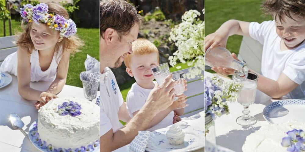 HIPP HURRA! Hermine har fått blomsterkrans i håret, mens Marius synes det er tryggest på Pappa Jarles fang. Morten synes rosa saft er helt ok, så lenge den smaker godt. Fest på terrassen er herlig, uansett dag og anledning.