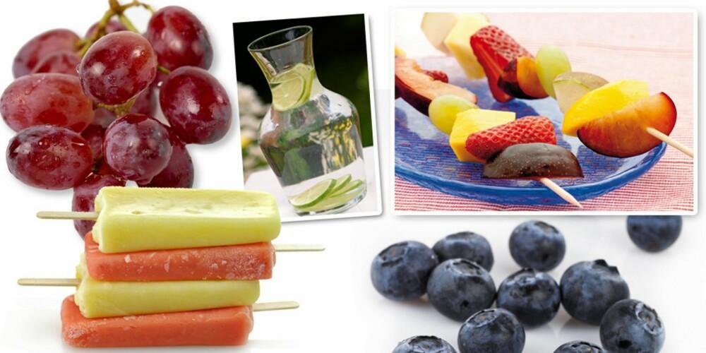 SUNNERE ALTERNATIVER: Velg bort sukkeret når ungene skal kose seg. Frosne druer, fruktvann, smoothie-is, fruktspyd med sjokolade og godteri-bær er godis med god samvittighet.