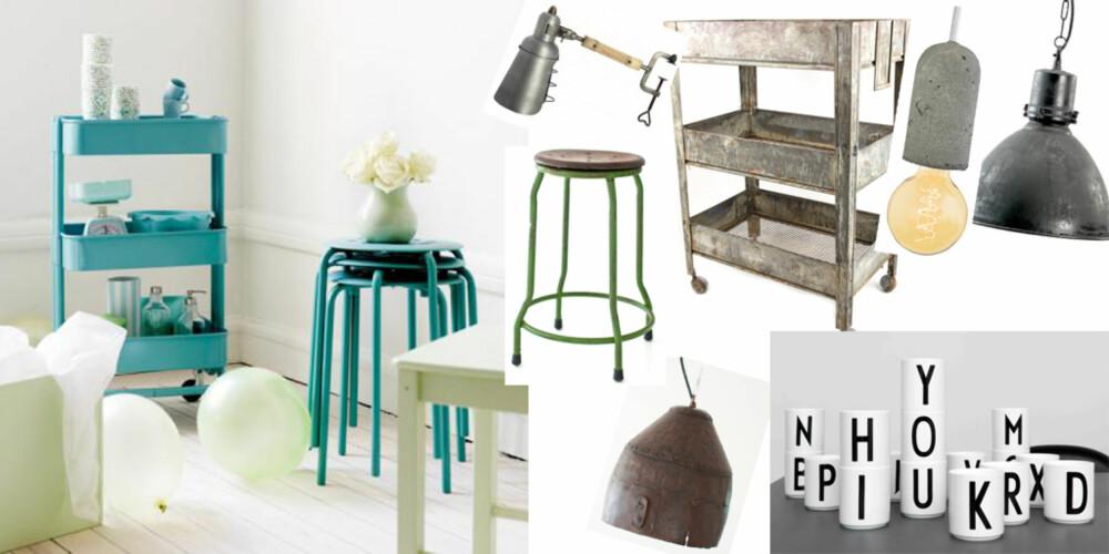 STJEL STILEN: Disse elementene gir kjøkkenet ditt et snev av industri. Finn disse hos Ikea, Bolina, Hviit og Ting.