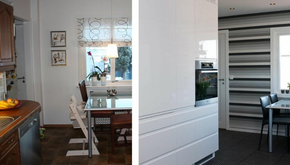 FØR OG ETTER: Der det tidligere var benkeplate med kum er det nå en kjøkkenvegg med integrerte hvitevarer.