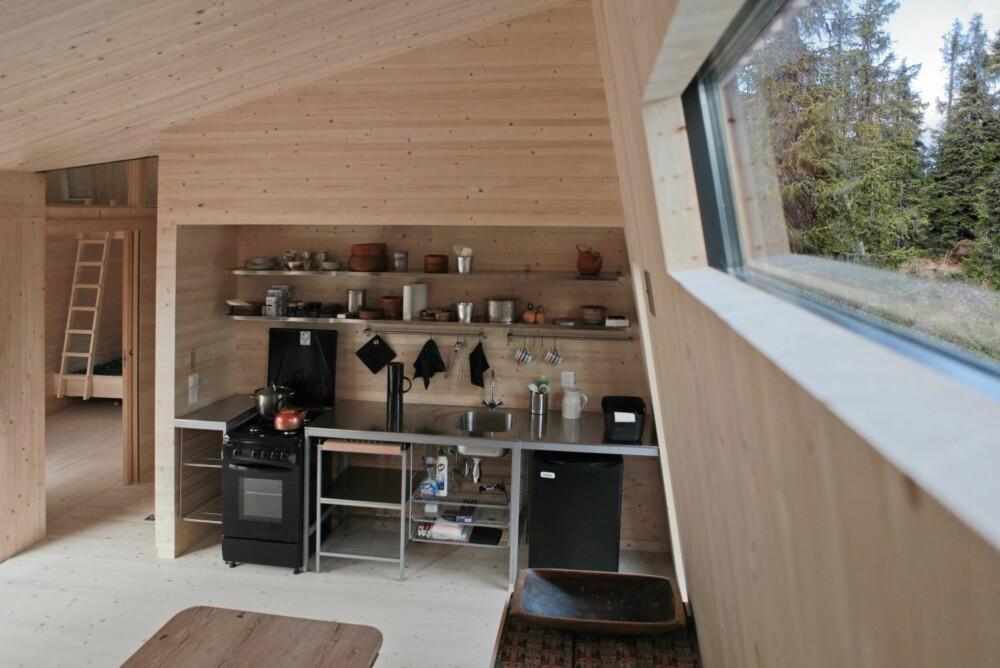 KOMPAKT LØSNING: På 50 kvadratmetre har man fått plass til to soverom, kombinert kjøkken- og stueløsning, hems, bad, gang og badstue.
