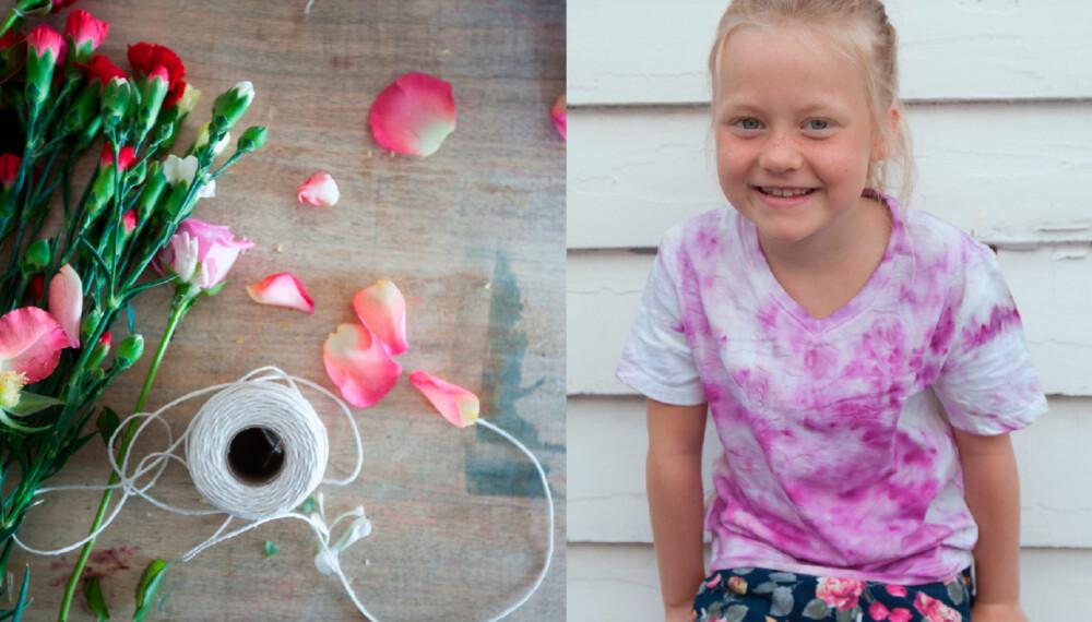 BLOMSTERBARN: La barna farge sine egne t-skjorter med blomster. Det er verken vanskelig eller tidkrevende.