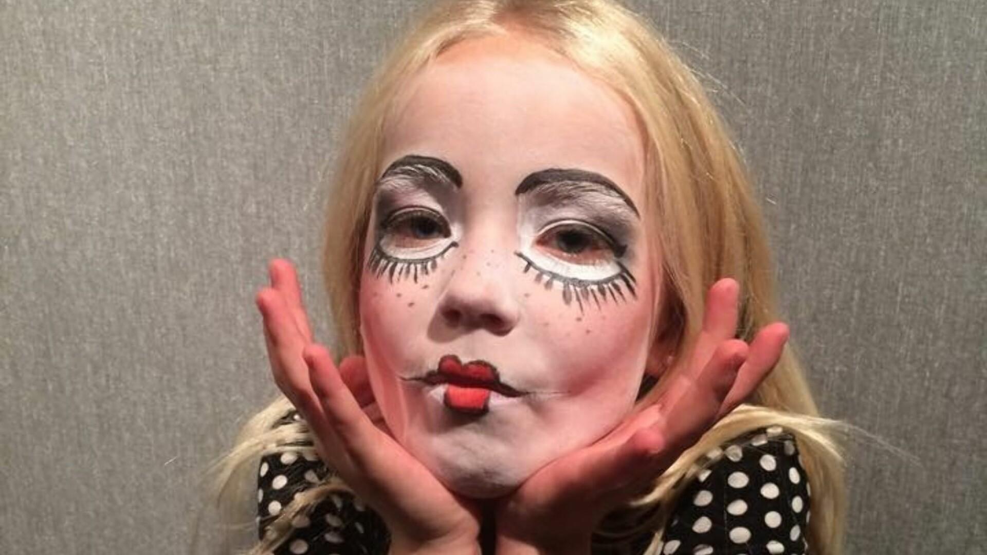 Skummel Halloween Sminke.Ansiktsmaling Barn Barn