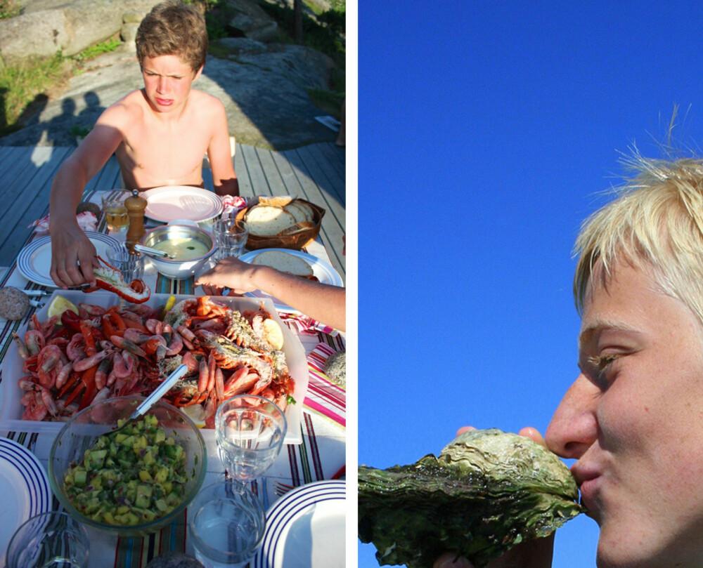 SJØMAT: Aioli, mango-avokadosalsa og selvfangst fra fiskebutikken og havet smaker godt for sommergutter! Fridtjof har dykket etter østers i Oslofjorden, og da må den også smakes!