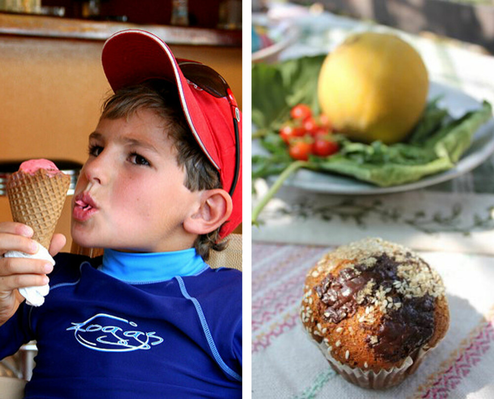 DEILIG IS OG MUFFINS: Is er godt i varmen! Prøv ekte pistasjeis, eller gourmet-is med ordentlige bær i. Nydelig muffins med sesamfrø, sjokolade og masse sunne godsaker. Fra gresk agroturismo (B&B på gård).