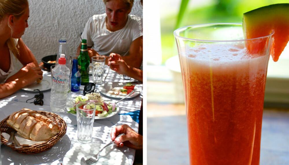 UNNGÅ BARNEMENYEN: La ferien bli en oppdagelsesreise for barna med ganen også, og unngå barnemenyen. Tzatziki, blekksprutsalat, gresk salat, lokal lemonade og vann glir ned på høykant hos ungdommen på Naxos. Vannmelonjuice er et kjempegodt, sunt og forfriskende alternativ til brus!
