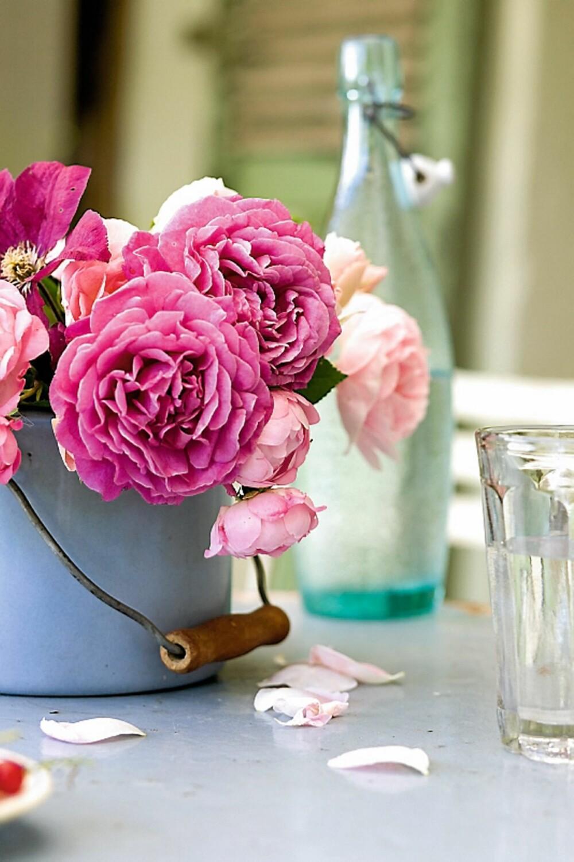 VAKKERT: Roser skaper umiddelbart romantisk stemning, uansett hva du setter dem i. Her er en gammel sinkbøtte blitt vase.