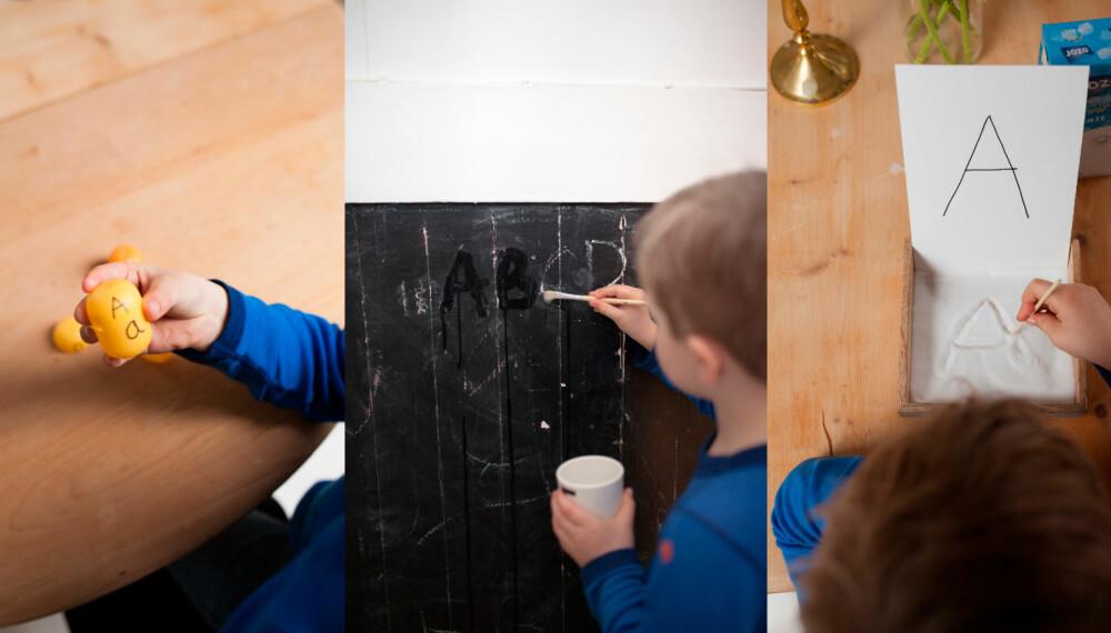ENKLE KNEP: Det kan være moro å lære hvordan bokstavene skrives, også før man begynner på skolen. Her er tre enkle knep til hvordan barna kan lære dem.