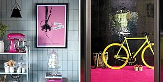 ROSA TREND: Rosafargen har inntatt hjemmene våre. Våger du å innrede med et rosa teppe fra flor.com - eller en rosa plakat fra House Doctor?