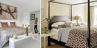 KONTRASTER OG FARGEKLATTER: Et nøytralt soverom kan fornyes med friske farger eller mønstre på sengetøy, tilbehør og veggpynt.
