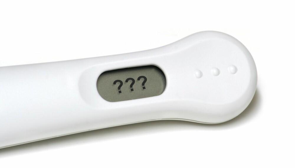 SVAK GRAVIDITETSTEST: En graviditetstest er ingen sikker vitenskap. Den kan være negativ selv om du er gravid.