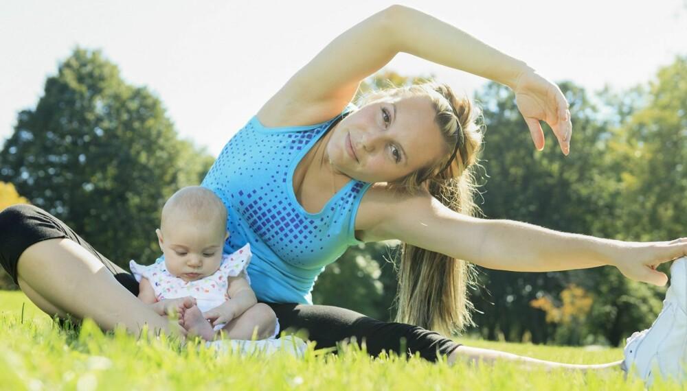 TRENE ETTER FØDSEL: Etter en normal fødsel bør du vente i 4-6 uker før du tar opp treningen.