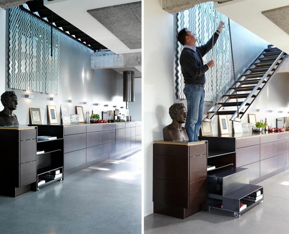 SMARTE LØSNINGER: Ajas Mellbyes Petter Smart-løsning på trappen gir direkte tilgang til takterrassen. Bysten viser Ajas' tippoldefar, historikeren P.A. Munch. Speilet er fra Lisa Pacini, en av Ajas' favorittkunstnere. Benkeplaten er i stål.