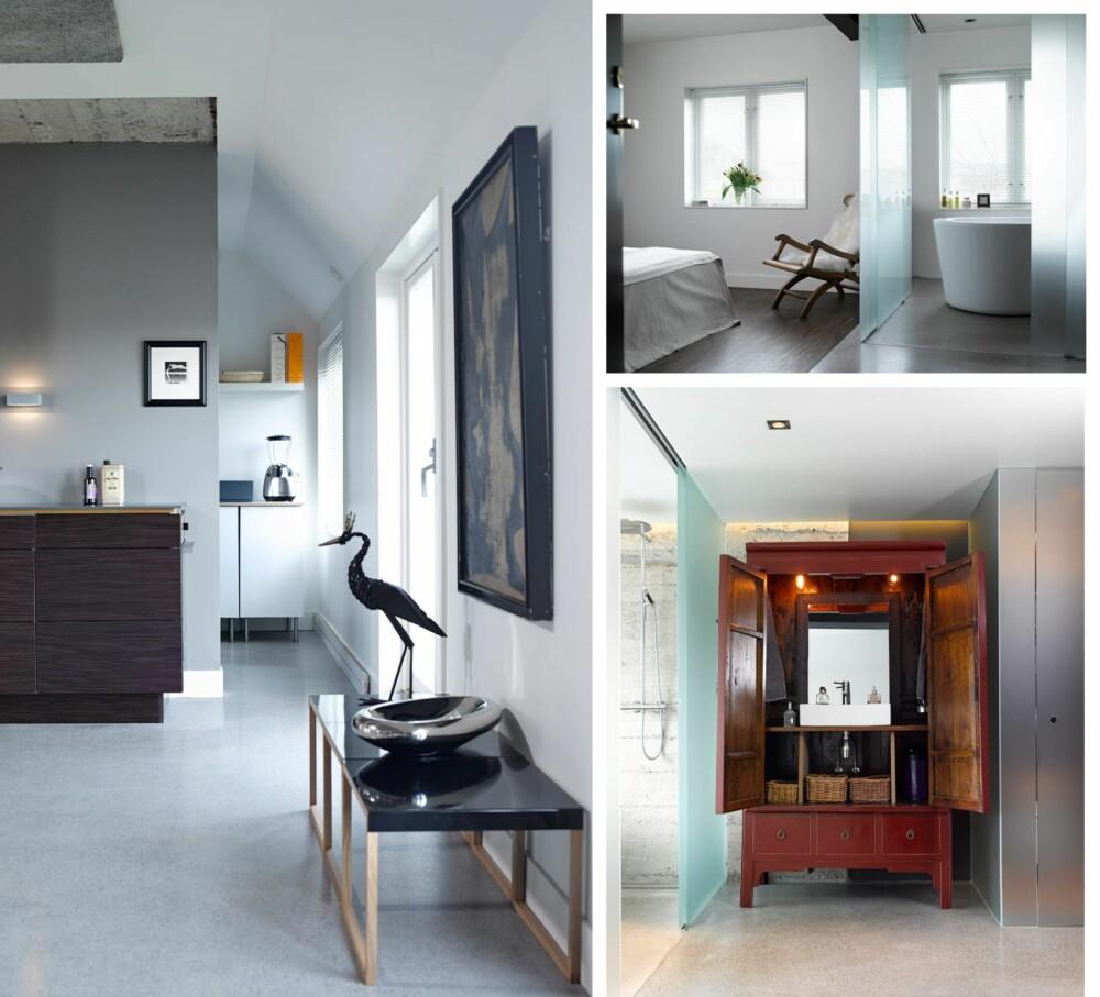 LUFTIG: Bilde til venstre: Ved å droppe overskap sikrer Ajas Melbye seg et luftig kjøkken. Gulvet er støpt betong på originalt betongdekke. Bilde øverst til høyre: Rom i rommet. Badet er et delikat og diskret rom i soverommet. Bildet nederst til høyre: Kompakt løsning. Når skapet åpnes, trer vasken frem. Skapet er et kupp fra finn.no, som er bygget om til et baderomsmøbel.