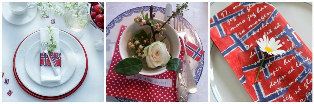 PYNT MED BLOMSTER: Til venstre er det pyntet med hvite syriner, i midten har instagrammer Trine Korneliussen pyntet vakkert med roser og en kvist fra frukttreet i hagen. Til høyre en enkel margeritt på tallerkenen.