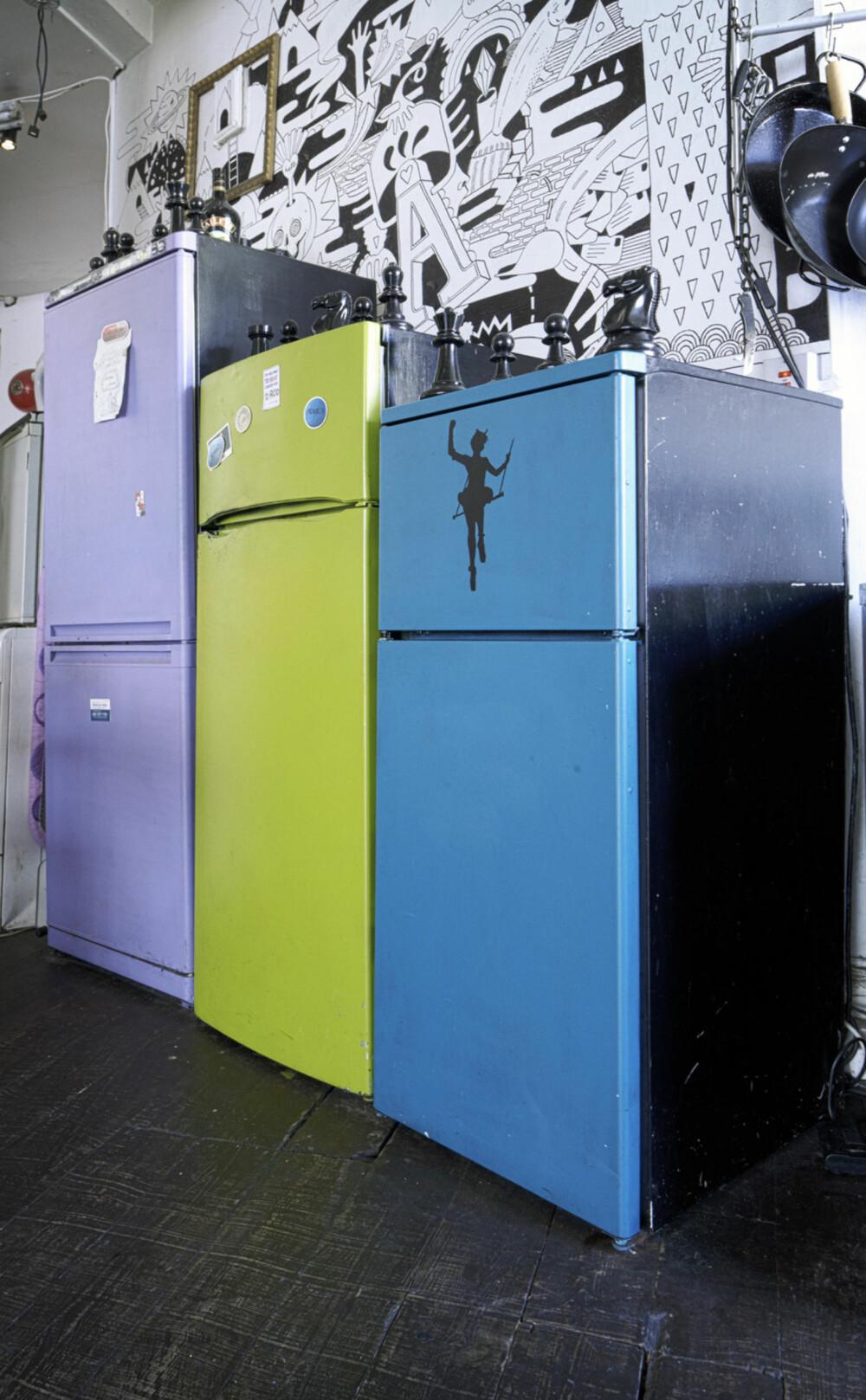 FARGERIKE KJØLESKAP: Ana og mannen flyttet inn i den ubebodde lagerbygningen i Whitechapel for to år siden. De tok med seg flere gamle møbelfunn fra den forrige leiligheten deres, som for eksempel disse tre fargerike kjøleskapene.