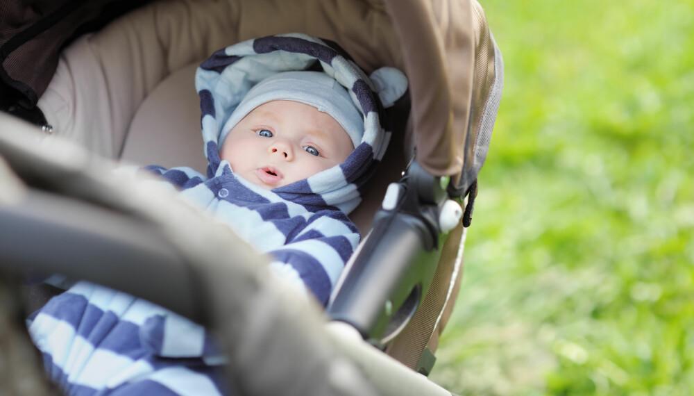 MUGG I BARNEVOGNEN: Barnevognen fungerer ofte som babyens andre soverom, så det er viktig at inneklimaet i vognen er godt.