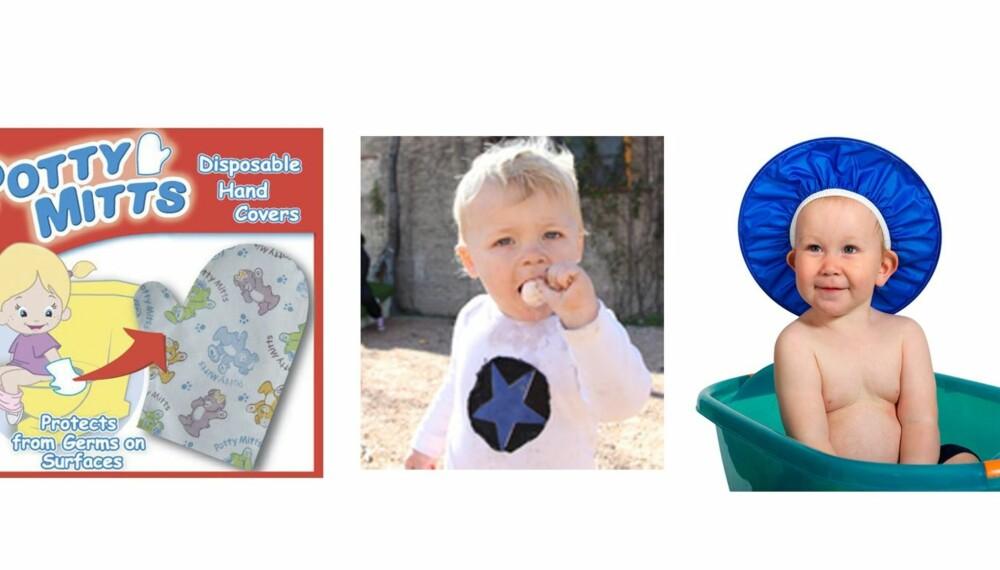 DOHANSKER OG MORSMELK-KJÆRLIGHET: Hansker til dobesøket, godteri med smak av brystmelk og en sjamposkjerm til hårvasken er bare noen av de absurde tingene du kan kjøpe til babyen.