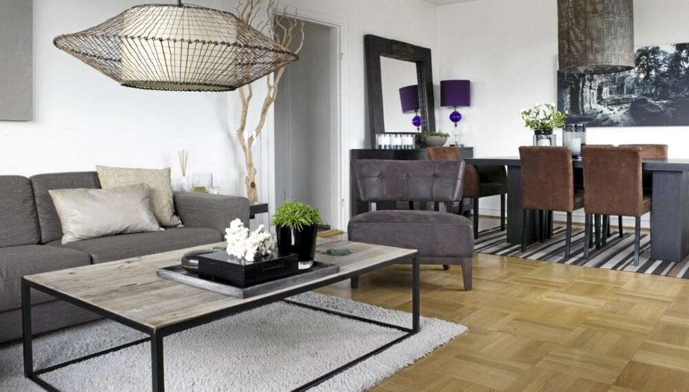 TIDLØST: Stuen er stilrent innredet. Lenestolen er fra Living, sofa fra svenske Engelsson og salongbord fra Konzept HP. Den lilla lampen er kjøpt i Argentina.