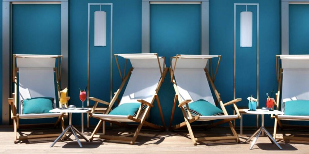 SLARAFFENLIV: Denne takterassen på Five Hotel & Spa i Cannes formelig innbyr til late dager i solen.