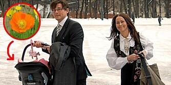 ORIGINALE: Morten Harket og samboer Inez Andersson har gitt datteren sin det spesielle navnet Karmen Poppy. Her de på vei inn io Slottskapellet og Emma Tallulahs dåp.