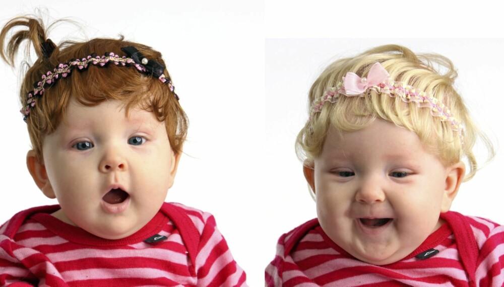 HÅRFIN: Rød røverunge eller blond skjønnhet - med babyparykkene fra USA kan babyen faktisk være begge deler.