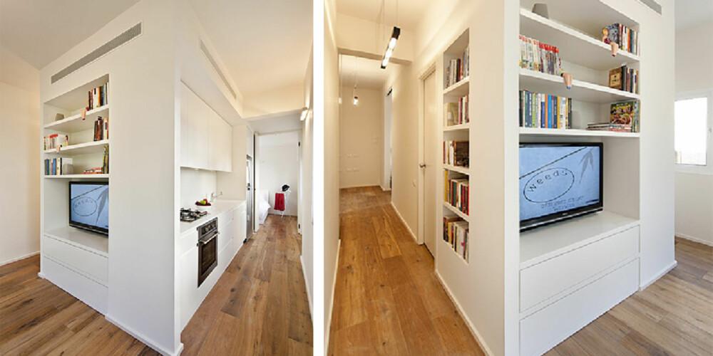 BYGGET OM: Den lille leiligheten ble totalforandret med en spesialbygget boks midt i boligen.