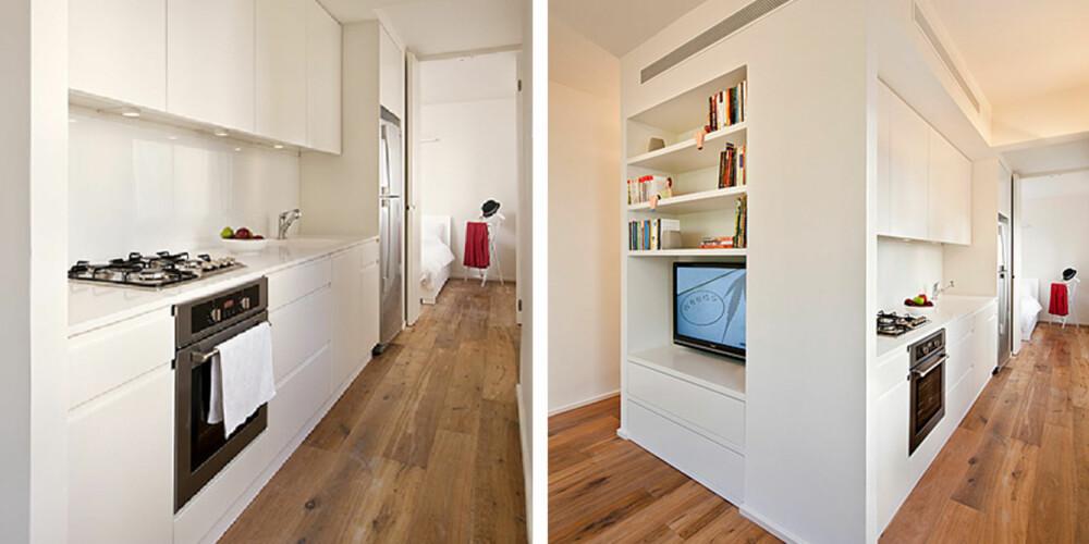"""FRI FLYT: Arkitektene mente at boligen kom til å føles større om man samlet alle funksjoner i en sentral """"kontroll-boks""""."""