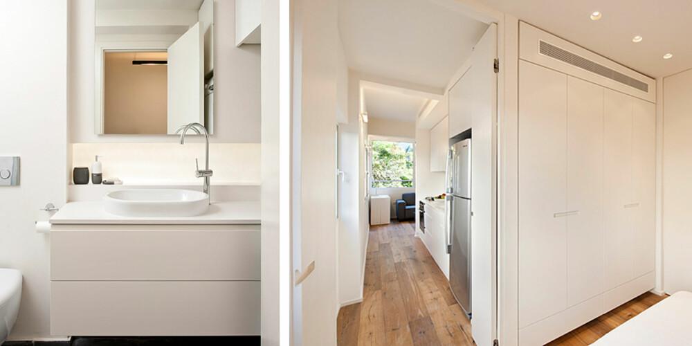 INNEBYGGET: Både bad og klesskap har fått plass i den spesialbygde konstruksjonen midt i boligen.
