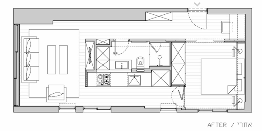SLIK GJORDE DE: Arkitektene samlet sentrale funksjoner i en spesialbygget kube midt i leiligheten.
