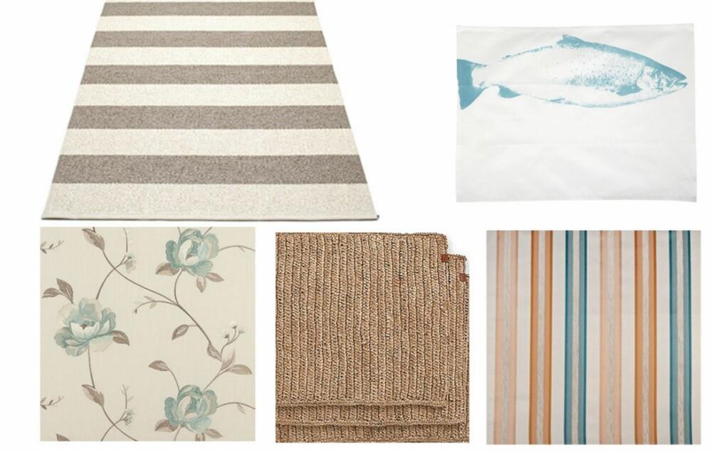 NYE TEKSTILER: Hent opp blå, grå og beigetonene i tepper, gardiner, kjøkkenhåndklær og brikker. Plastmatte fra pappelina, kjøkkenhåndkle fra house doctor, blomstrete tekstil fra borge, stråmatter fra lexington, stripete tekstil fra agpehrson.