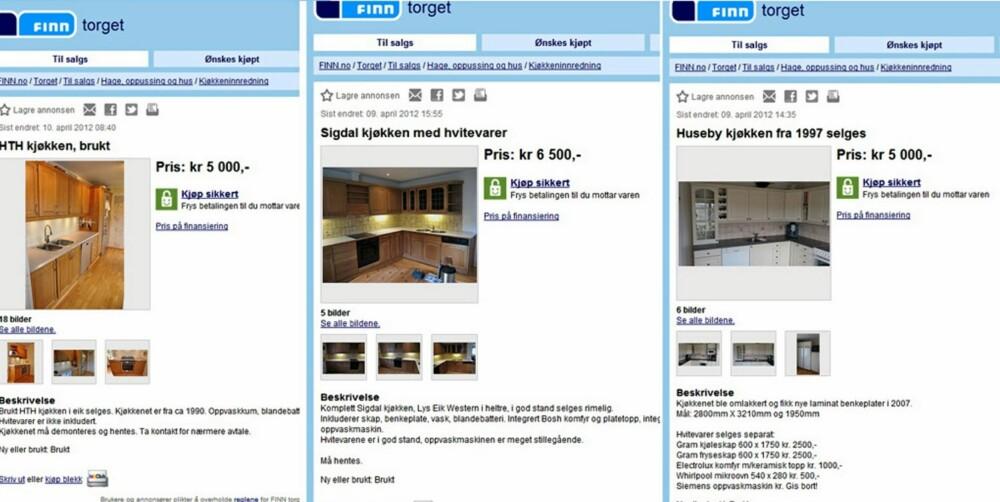 KJØP RIMELIG KJØKKEN: På finn kan du finne rimelige kjøkken fra kjente leverandører som HTH, Sigdal og Huseby.