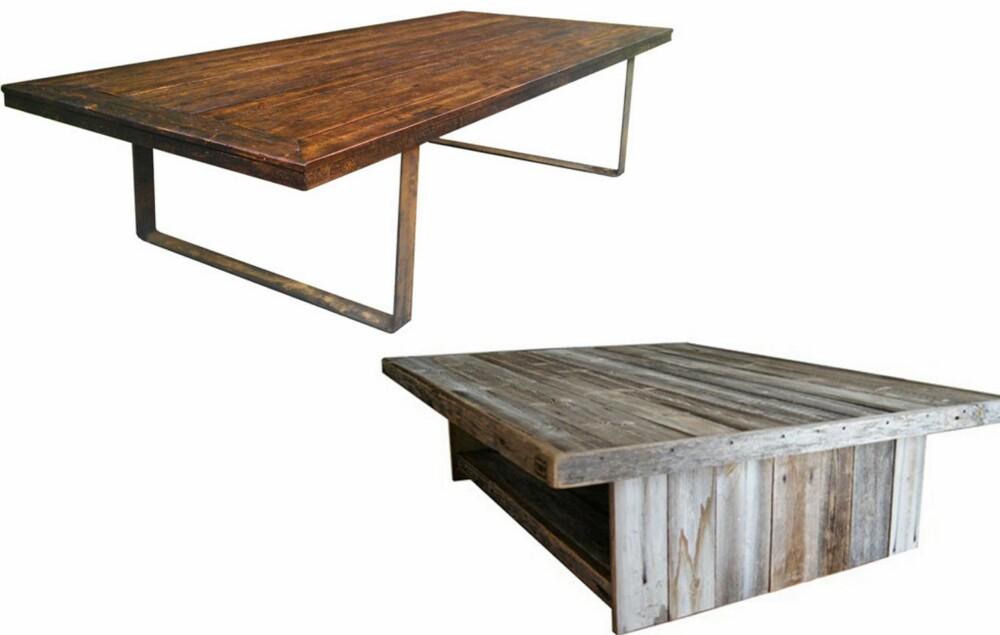 RØFFE BORD: To tøffe bord laget av gamle materialer fra Drivved.no