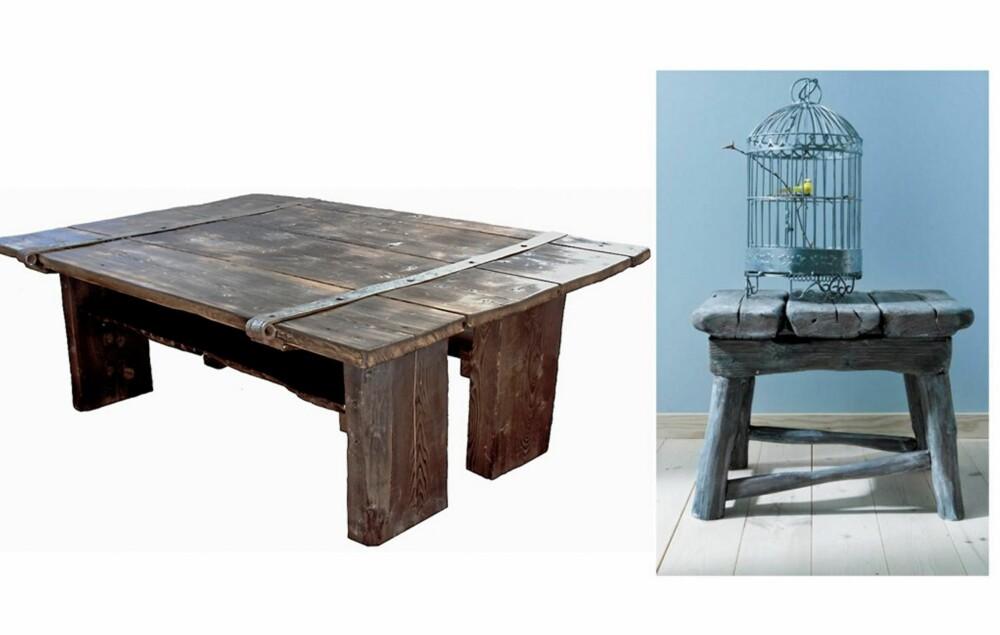 GJENBRUKSBORD: Gjenbrukstrenden er veldig populær, og her har en gammel låvedør fått nytt liv som spisebord. Slike bord kan bestilles fra et spesielt utvalg av gamle dører. Fra rustinterior.no