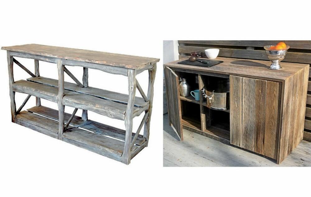 HENDIG HYLLE: Har du utekjøkken på hytta, kan en praktisk hylle være et supert supplement. Dette røffe og værbitte møbelet er laget av gamle materialer. Lengde: 150 cm, dybde: 45 cm, høyde: 85 cm. Fra rustinterior.no. Det kan være greit å ha oppbevaringsmuligheter utendørs også, særlig om du har et utekjøkken. Det røffe skapet i gjenbruksmaterialer er fra drivved.no.