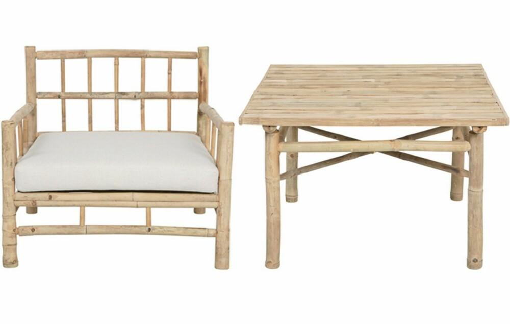 LETT OG LUFTIG: Bambusmøbler er en stor trend i år. Materialet har et lett, men samtidig rustikt uttrykk som egner seg godt på hytta. Denne serien har også en benk og to ulike bord. Fra babazar.no,