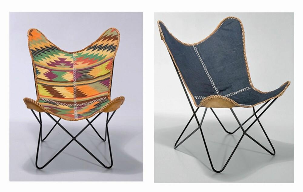 MARITIM GODSTOL: Den komfortable og klassiske butterflystolen i en etnisk variant og en maritim og moderne drakt. Fra kare-design.com.